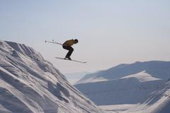 Skiing expedition in Svalbard Norway Stock Photos