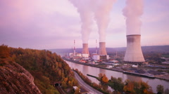 Nuclear Power Plant At River Stock Footage