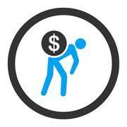 Stock Illustration of Money courier flat blue and gray colors rounded glyph icon