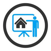 Stock Illustration of Realtor flat blue and gray colors rounded glyph icon