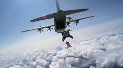 Fun jump skydiving in Norway Stock Photos