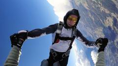 Fun jump skydiving in Norway - stock photo