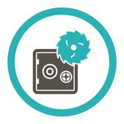 Hacking theft flat grey and cyan colors rounded glyph icon - stock illustration