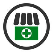 Drugstore flat green and gray colors rounded glyph icon - stock illustration