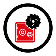 Hacking theft flat intensive red and black colors rounded glyph icon - stock illustration