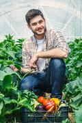 Young farmers are grown and harvested organic vegetables Stock Photos