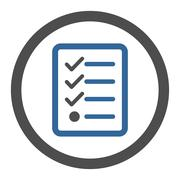 Checklist flat cobalt and gray colors rounded glyph icon - stock illustration