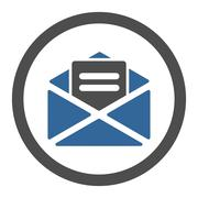 Stock Illustration of Open mail flat cobalt and gray colors rounded glyph icon