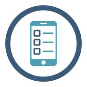 Mobile test flat cyan and blue colors rounded glyph icon - stock illustration