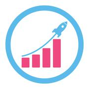 Stock Illustration of Startup sales flat pink and blue colors rounded glyph icon