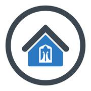 Home flat smooth blue colors rounded glyph icon - stock illustration