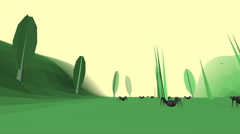 Low poly retro style bug world Stock Footage