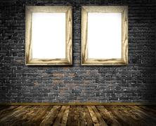 Two wooden frames on a old bricks wall. Stock Illustration