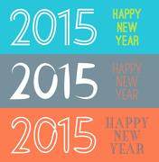 Set of Happy New Year 2015 banner.  illustration for holiday - stock illustration