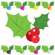 Set of holly berry sprig icons isolated on white background - stock illustration