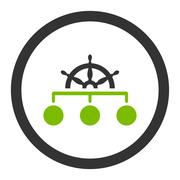 Rule flat eco green and gray colors rounded vector icon - stock illustration
