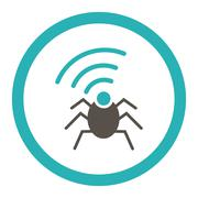 Stock Illustration of Radio spy bug flat grey and cyan colors rounded vector icon