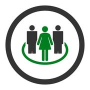 Stock Illustration of Society flat green and gray colors rounded vector icon