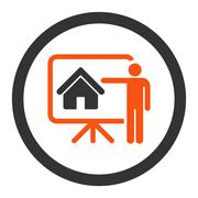 Realtor flat orange and gray colors rounded vector icon - stock illustration