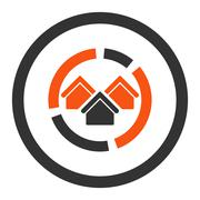 Realty diagram flat orange and gray colors rounded vector icon - stock illustration