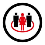Society flat intensive red and black colors rounded vector icon Stock Illustration
