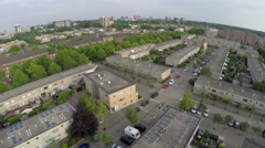 Amsterdam Aerial typical neighborhood in Nieuw Sloten showing solar panels Stock Footage