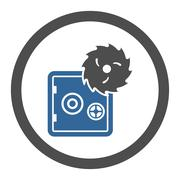 Hacking theft flat cobalt and gray colors rounded vector icon Stock Illustration