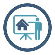 Realtor flat cyan and blue colors rounded vector icon - stock illustration