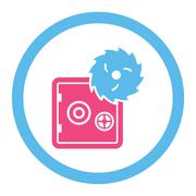 Hacking theft flat pink and blue colors rounded vector icon - stock illustration