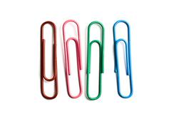 Four multicolored paperclips - stock photo