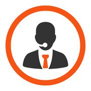 Stock Illustration of Call center operator flat orange and gray colors rounded glyph icon