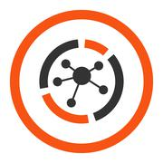 Stock Illustration of Connections diagram flat orange and gray colors rounded glyph icon