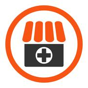Stock Illustration of Drugstore flat orange and gray colors rounded glyph icon