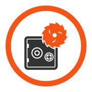 Hacking theft flat orange and gray colors rounded glyph icon - stock illustration