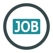 Job flat soft blue colors rounded glyph icon - stock illustration