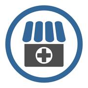 Drugstore flat cobalt and gray colors rounded glyph icon - stock illustration