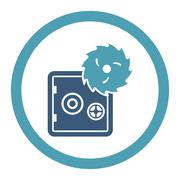 Hacking theft flat cyan and blue colors rounded glyph icon Stock Illustration