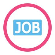 Job flat pink and blue colors rounded glyph icon - stock illustration
