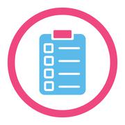 Test task flat pink and blue colors rounded glyph icon - stock illustration