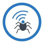 Stock Illustration of Radio spy bug flat smooth blue colors rounded glyph icon