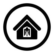 Stock Illustration of Home flat black color rounded glyph icon