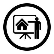 Realtor flat black color rounded glyph icon - stock illustration