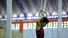 Gymnastic Rings. Exercise Training Equipment. Gym. Games. Stock Footage