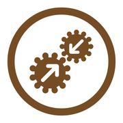 Integration flat brown color rounded glyph icon - stock illustration
