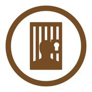 Prison flat brown color rounded glyph icon - stock illustration