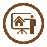 Realtor flat brown color rounded glyph icon - stock illustration