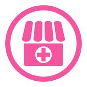 Drugstore flat pink color rounded glyph icon Stock Illustration