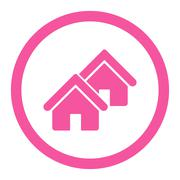 Realty flat pink color rounded glyph icon - stock illustration