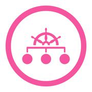 Rule flat pink color rounded glyph icon - stock illustration