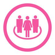 Society flat pink color rounded glyph icon - stock illustration